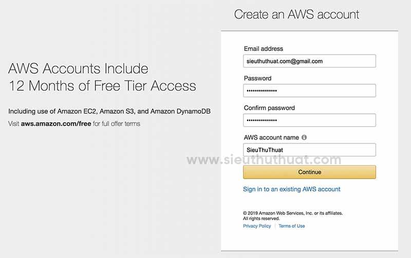 Thủ thuật đăng ký VPS Amazon AWS 1 năm miễn phí